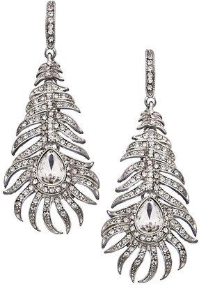 Blu Bijoux Crystal Peacock Feather Earrings