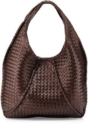 Bottega Veneta Cervo Large Metallic Hobo Bag, Metallic Dark Brown