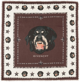 Givenchy Rottweiler Scarf in Brown & Ivory