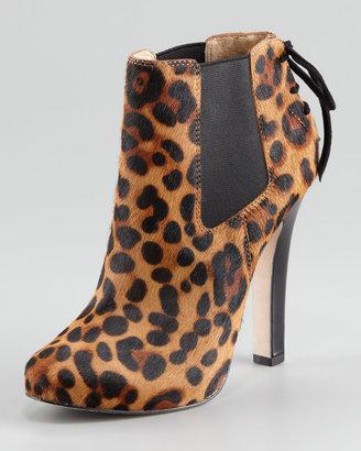 Diane von Furstenberg Clara Gored Back-Lace Ankle Boot, Leopard-Print Calf Hair