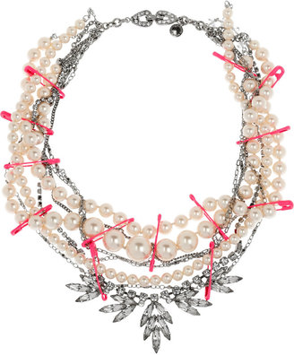 Tom Binns Passive Attack rhodium and pearl multi-strand necklace