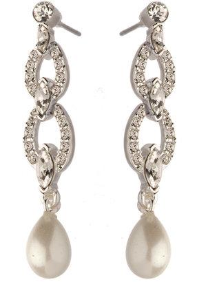 Carolee Austrian Crystal Link and Pearl Earrings