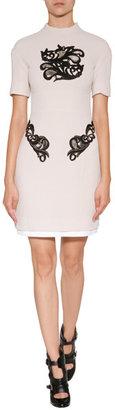 Marios Schwab Wool Short Dress with Waist Panel in Blush