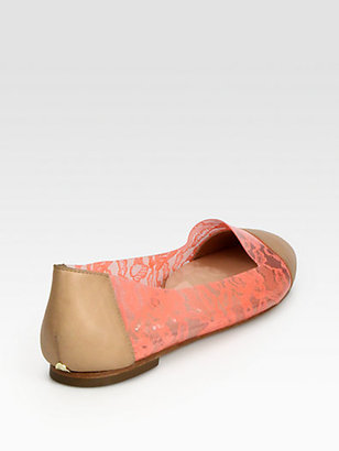 Loeffler Randall Beckett Jelly Leather-Trimmed Smoking Slippers