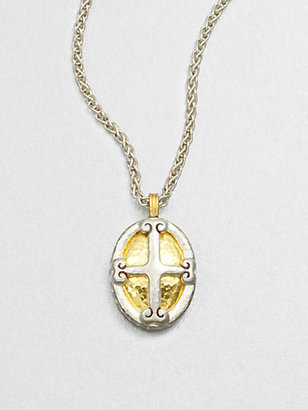 Gurhan Sterling Silver & 24K Gold Crest Pendant Necklace