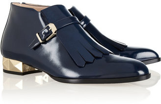 Valentino Studded polished-leather loafers