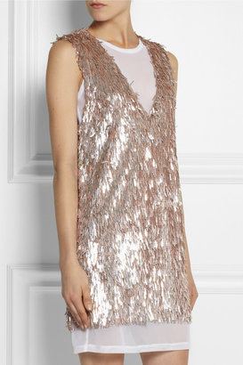 Vera Wang Sequined stretch-mesh dress