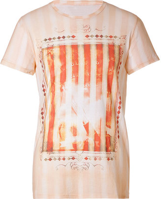 Balmain Beige/Red-Multi Printed Cotton T-Shirt