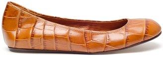 Lanvin Crocodile embossed leather ballerina flats