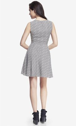 Express Pleated Keyhole Fit And Flare Dress - Printed