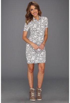 Lacoste L!VE S/S Snake Print Polo Dress (Cake Flour White/Snake) - Apparel