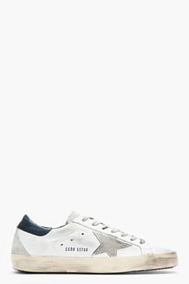 Golden Goose White & Navy Leather Superstar Sneakers