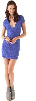 Nightcap Clothing Deep V Cap Sleeve Dress