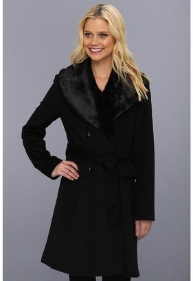 Ivanka Trump Faux Fur Double Breasted Coat (Black) - Apparel