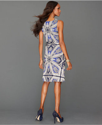 INC International Concepts Dress, Sleeveless Cowl-Neck Printed Belted
