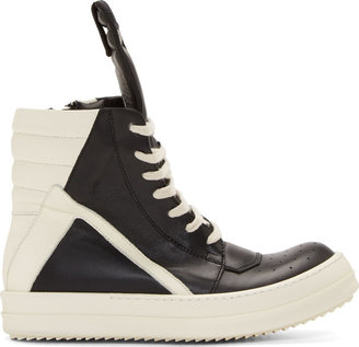 Rick Owens Black & White Geobasket High-Top Sneakers $1,320 thestylecure.com