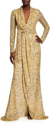 Badgley Mischka Sequin Long-Sleeve Wrap Gown