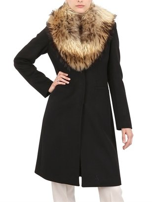 Blumarine Fin Raccoon Fur & Wool Cloth Coat