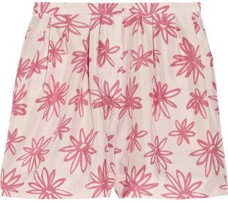 Nina Ricci Floral-print silk shorts