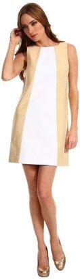 Tibi Amelie Seamed Shift Dress (White/Tan Multi) - Apparel