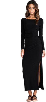 Norma Kamali Long Sleeve Shirred Waist Maxi Gown