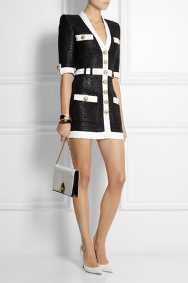 Coated tweed mini dress