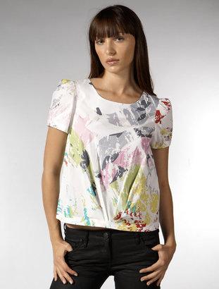 Mint Pollock Print Pleated Top