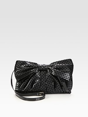 RED Valentino Large Bow Patent Leather Trim Clutch