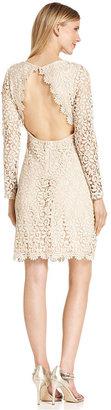Betsy & Adam Dress, Long-Sleeve Crochet-Lace Open-Back Sheath