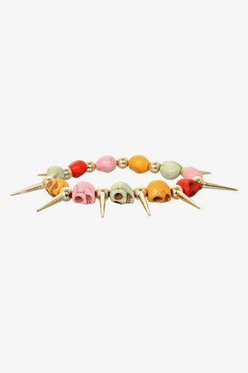 Hello Kitty Multicolor Skulls & Gold Spikes Stretch Bracelet