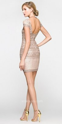 Scala Tribal Patterned Sequin Short Prom Dresses