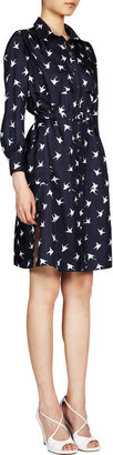 Nina Ricci Paloma Dove-Print Shirt Dress