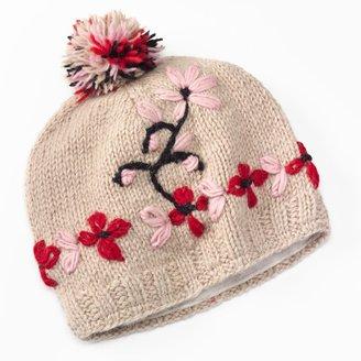 SIJJL Embroidered Flower Pom-Pom Wool Beanie Hat