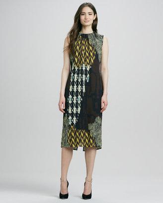 Trina Turk Lottie Sleeveless Mix-Print Dress