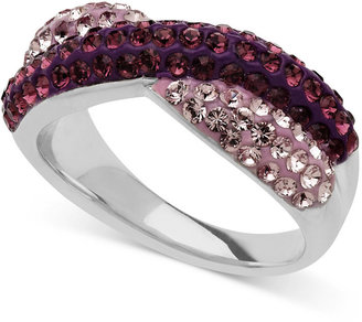 Swarovski Kaleidoscope Sterling Silver Ring, Light and Dark Purple Crystal Crossover Ring (1 ct. t.w.)
