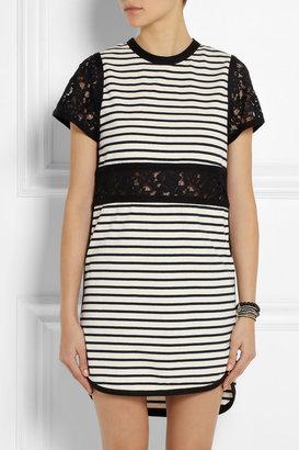 Sea Lace-paneled striped cotton-jersey dress