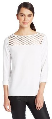 Bailey 44 Women's Milky Way Mesh Yoke Detail Long Sleeve Top