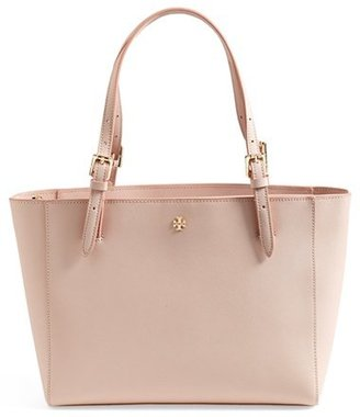 Tory Burch 'Small York' Saffiano Leather Buckle Tote - Beige $245 thestylecure.com