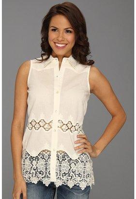 Roper 8682 Lace Edged Sleeveless Shirt (White) - Apparel