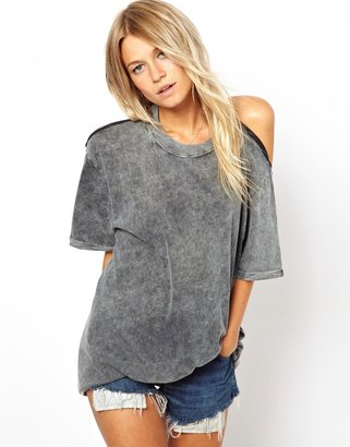 Asos Top in Acid Wash with Cut Out Back