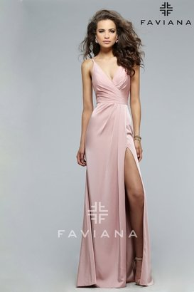 Faviana - Classy Satin Dress with Plunging Neckline and High Side Slit 7755E $318 thestylecure.com