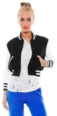Simone Varsity Bomber Jacket in Black/White