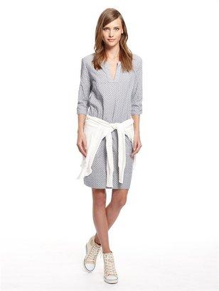 DKNY Clover Chambray Stripe Three Quarter Sleeve Collarless V-Neck Tunic Dress