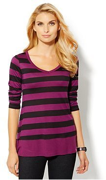 New York & Co. Love, NY&C Collection - Striped Elliptical-Hem Tunic