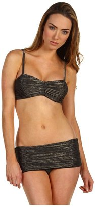 Michael Kors Solid Metallic Knit Shirred Princess Line Bra and Skirted Bottom Set (Black) - Apparel