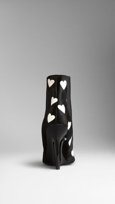 Burberry Heart Print Wedge Chelsea Boots