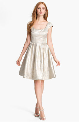 Kay Unger Metallic Fit & Flare Dress