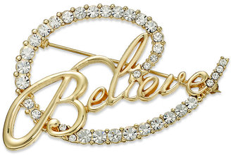 Charter Club Gold-Tone Crystal Believe Pin