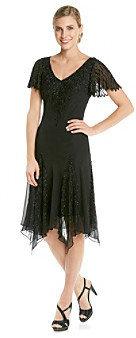 J Kara Beaded Hanky Hem Tea Length Cocktail Dress