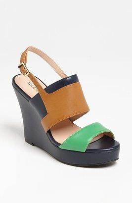 Sole Society 'Joan' Wedge Luggage/ Grass Green/ Marine 11 M